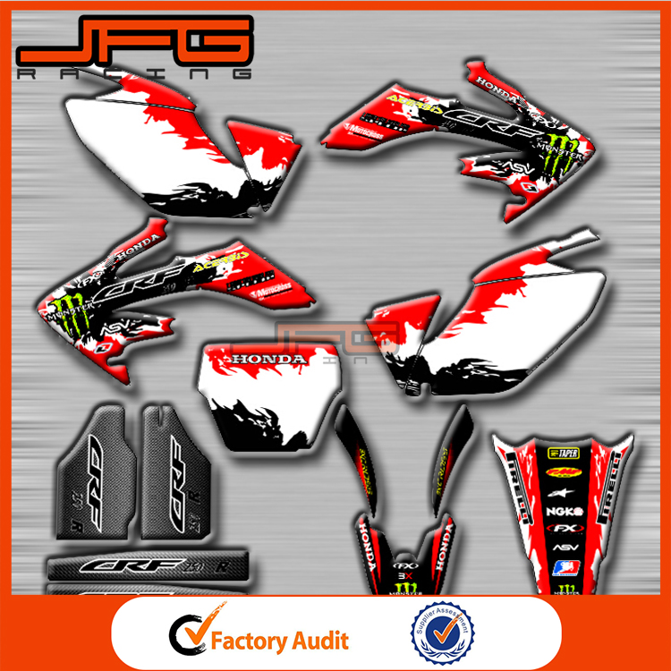 CRF CRF250R CRF250 Motorcycle Customized Team Graphics & Backgrounds Decals 3M Stickers Fairing Decals