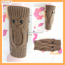 Brown stylish crochet owl style Fashion Winter stylish 2 owls Women cable Knit Boot Cuff Patterns leg warmer
