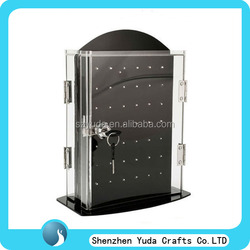 custom standee simple clear necklack display showcase acrylic jewelry display case with lock and key