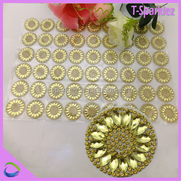 sun flower crystal clothing rhinestone stickers jeweled ornaments for shoes