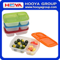 3-compartment Plastic Bento Acrylic Food Storage Containers Lunch Box with Bividers