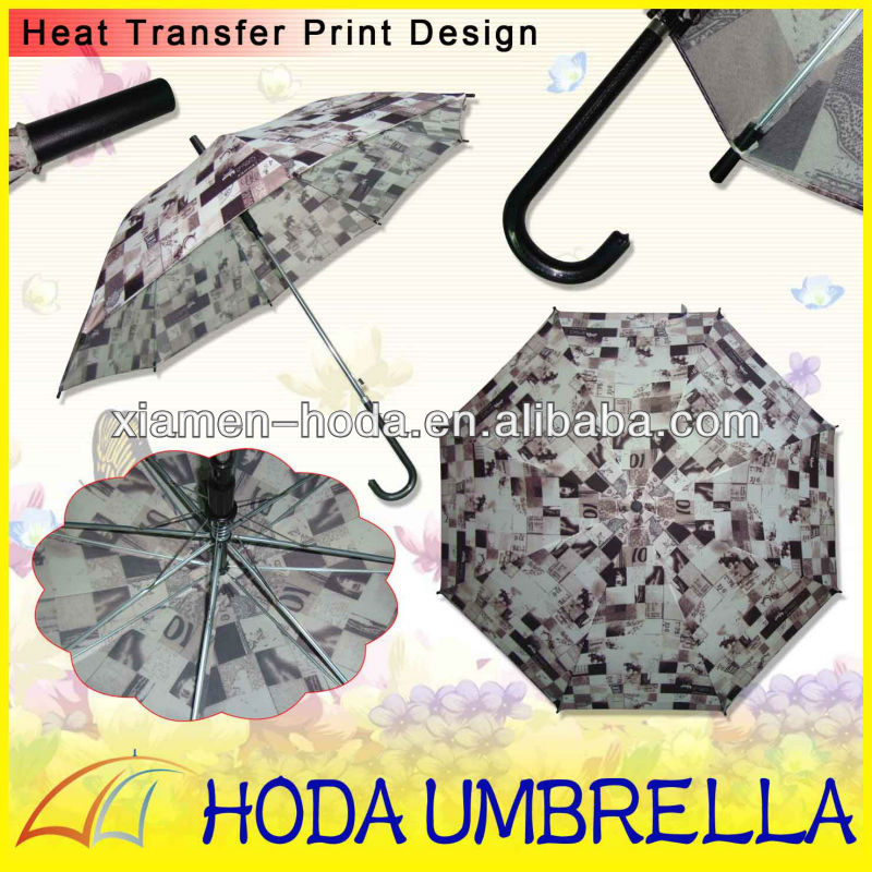 Heat Transfer Printing Design Fashion Straight Umbrella with Chrome-coated Metal Frame/Full Color Printing Straight Umbrella