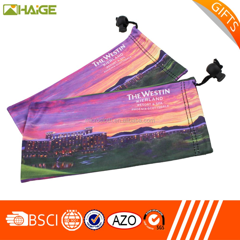 customized logo printing packaging and cleaning microfiber eyeglasses pouch