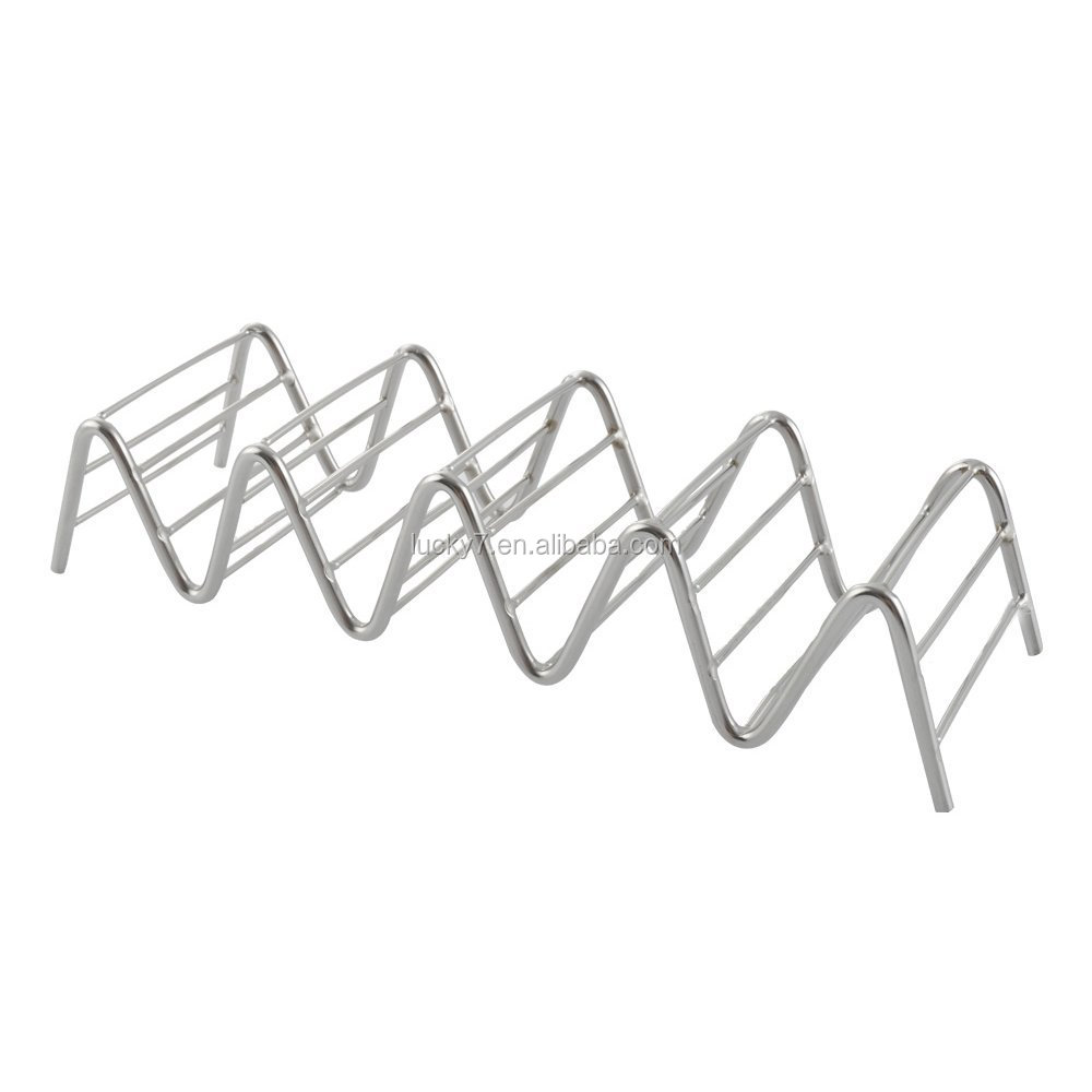 4 or 5 Taco Stand 2 Pack Stainless Steel Taco Stand Mexican Food Rack Shells for Hard or Soft Shell Tacos (4 Stack Holder)