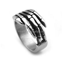 Men's Titanium Steel Classic Punk Hand Bone Shape Skull Band Ring