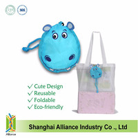 Hippo Cartoon Foldable Shopping Tote Eco Reusable Recycle Bag Grocery Supermarket New