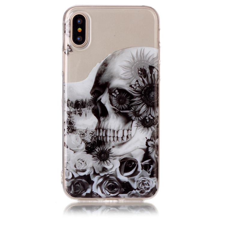 Clear Transparent IMD Skull Flower Owl Silicon Case Phone Cover for iPhone X , for iPhone 10 TPU Cases