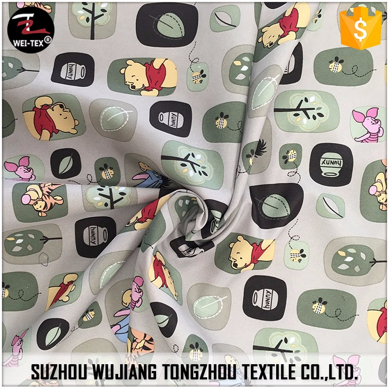 100% Polyester 300T fulldull pongee fabric with printed and pu milky coated