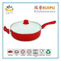 korea 30cm aluminum deep tensile cooking white ceramic coating wok pan