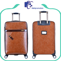 Brown faux leather eminent travel luggage suitcase