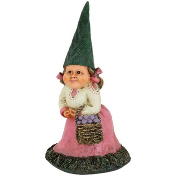 Polyresin sunnydaze isabella the female garden gnome lawn statue, Outdoor Yard Ornament, 8 inch tall