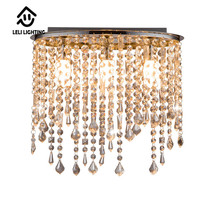 Indoor design pendant light suspension crystal square ceiling lamp chandelier