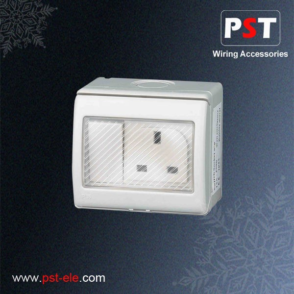 High Quality IP55 Weatherproof Electrical 13A UK Switched Socket,Single Pole