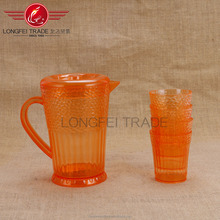 orange color clear transparent 4 cups plastic water pitcher
