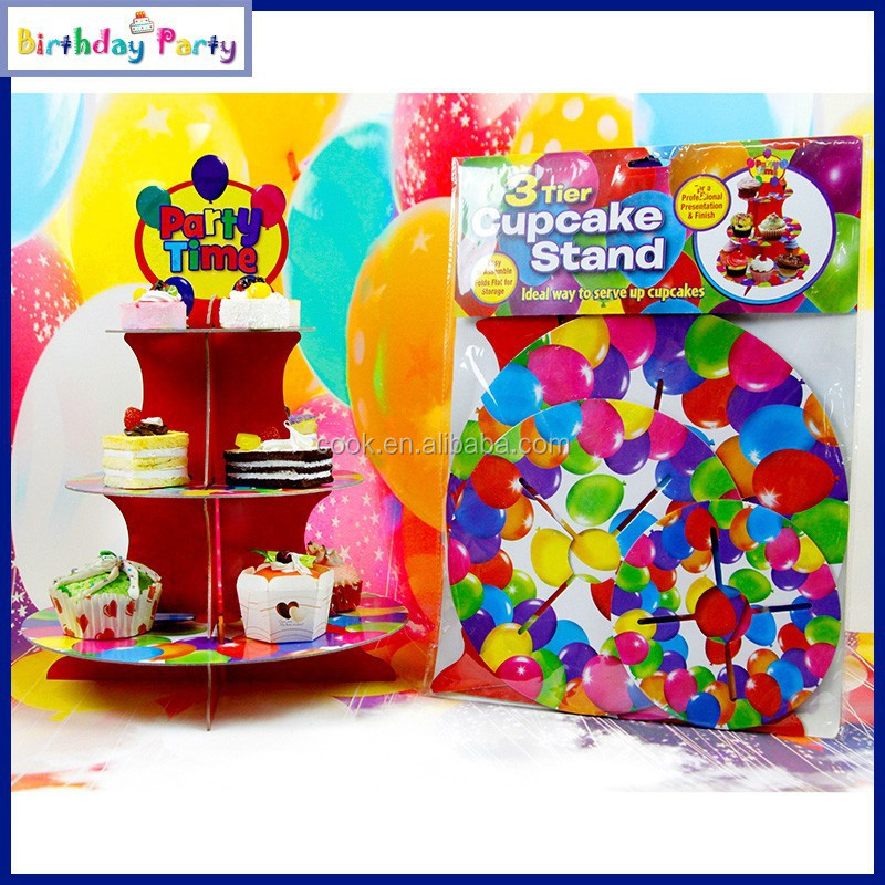 party time 3 tiers cardboard cupcake stand for birthday party