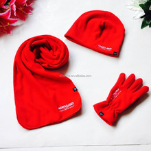 red colors ladies polar fleece winter scarf hat gloves sets factory
