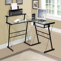 Space Saving Glass Metal Frame Office Table Computer Desk