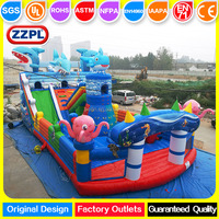 ZZPL Marine Shark Inflatable Amusement Park, Outdoor Inflatable Fun City for kids