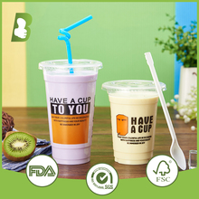 12oz Disposable Plastic Smoothie Cup with Flat Lid and Straw