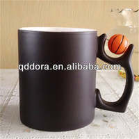 World cup mug,black ceramic mug with basketball handle