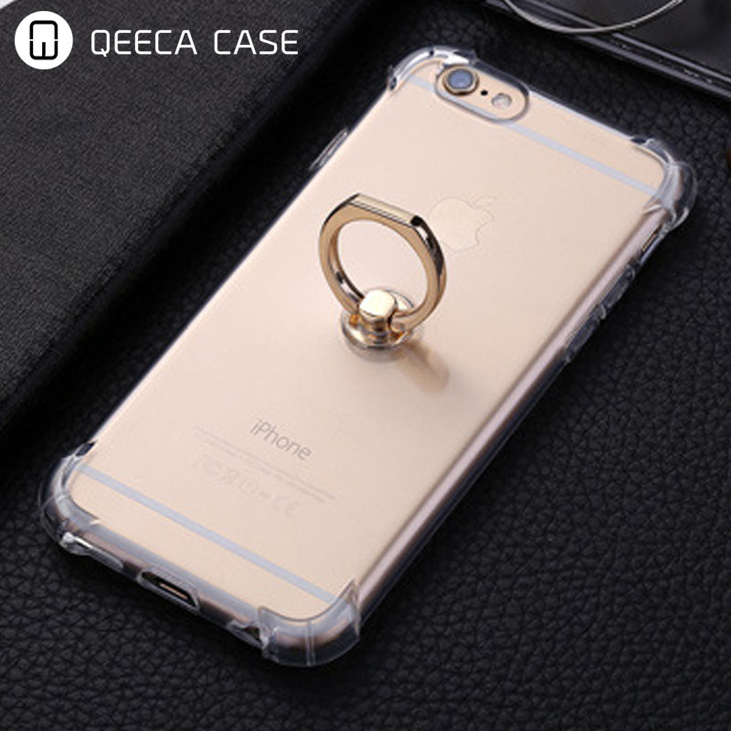 Shock proof rubber TPU back cover case for iphone 7 ring case transparent clear