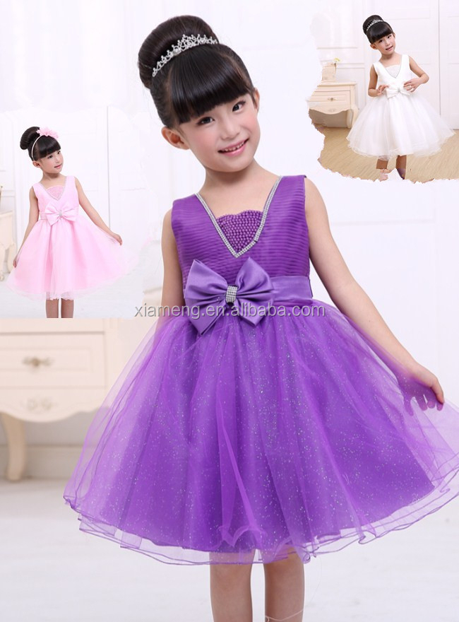 2015 hot sale fashion wear party birthday dress for 3 year old