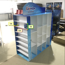 OEM Facial Tissue Beach Bath And Baby Towel Cleaning Cloths Four Side Cardboard Display Shelf With Hook And Pallet