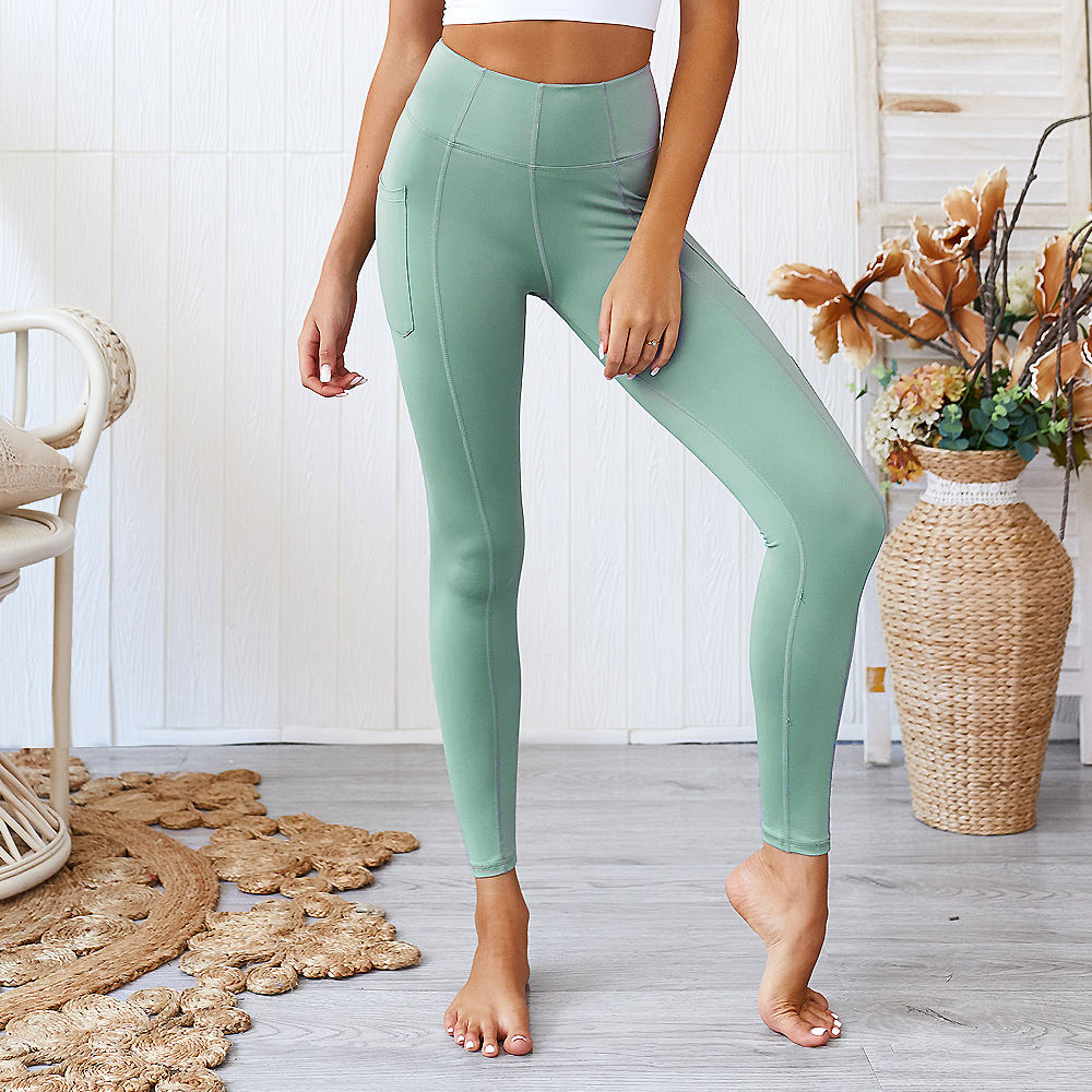2019 Europe and America moisture wicking fitness pants pocket yoga pants sports leggings peach hip leggings