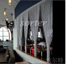 office partition shiny silver plated metal beaded string curtain