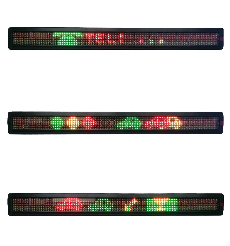 P7.62-7x120 RG double color lamps programmable single line LED sign display with USB, RS232, TCP-IP, WIFI and remote control