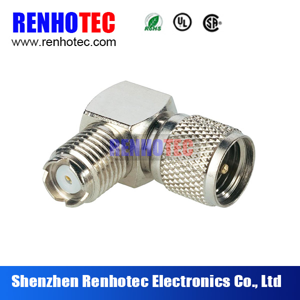 RF Adapter UHF Male to Mini Female Right Angle Coaxial Connector
