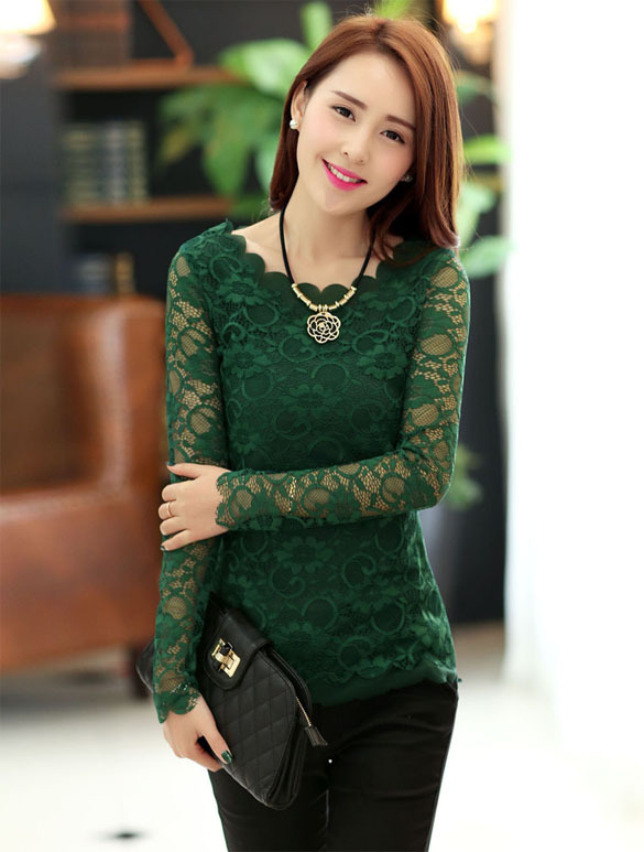 Women Sheer Solid Lace Shirt Floral Long Sleeve Slim Tops T-Shirt ...
