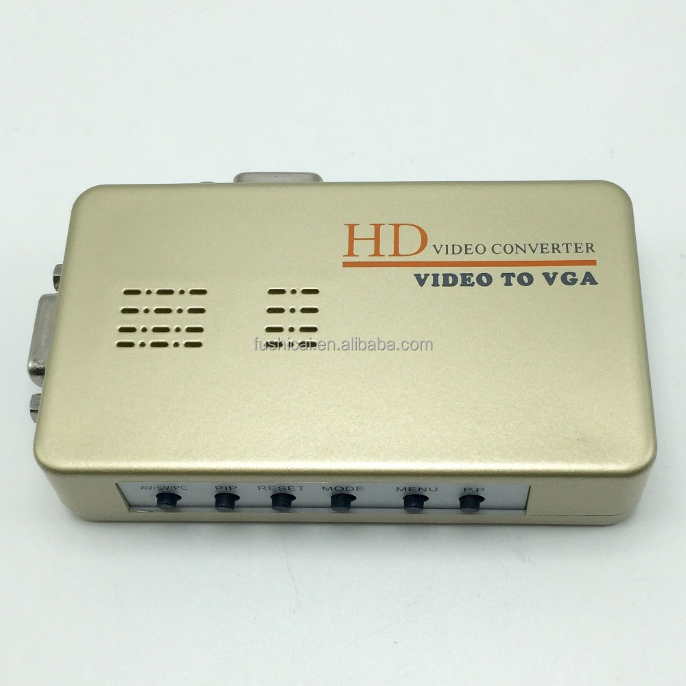 HD Video Converter Video to VGA PC to TV AV/CVBS/S-Video/RCA to VGA Converter Adapter Support PAL/NTSC