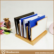 Beech wood desktop file organizer with natural colors