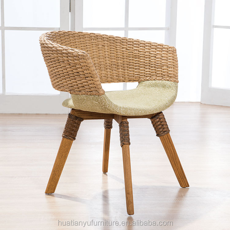 Unique design cane wicker semicircle back upholstered wood leisure chair