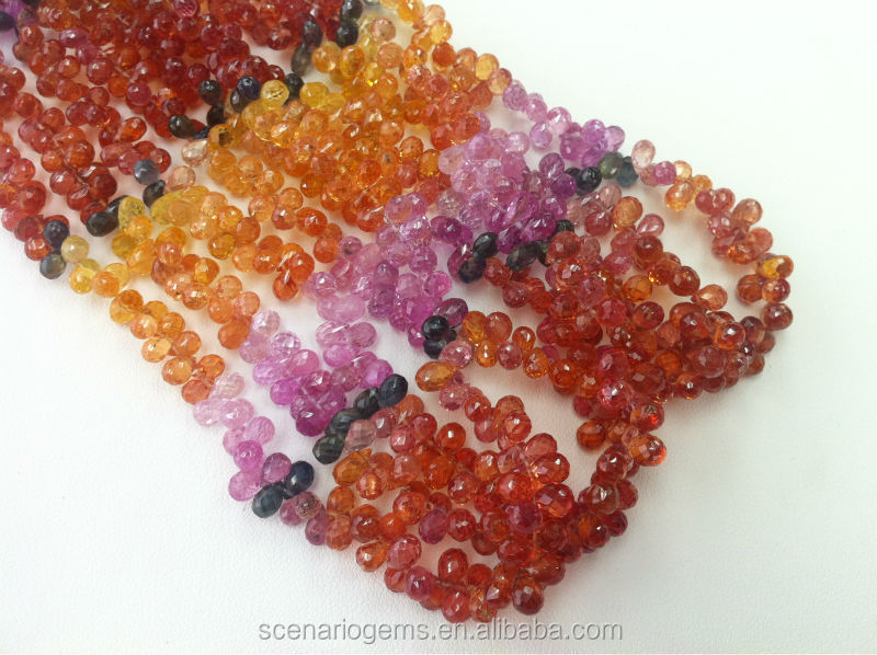 #MM Natural Multi-Color Tear Drop Faceted Gemstone Loose Beads Sapphire