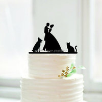 hot new products custom fashion Bride and Groom wedding cake toppers with cat and dog