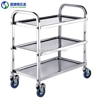 Stainless Steel Three Tiers Hotel Food Service Cart Trolley with muted Wheels
