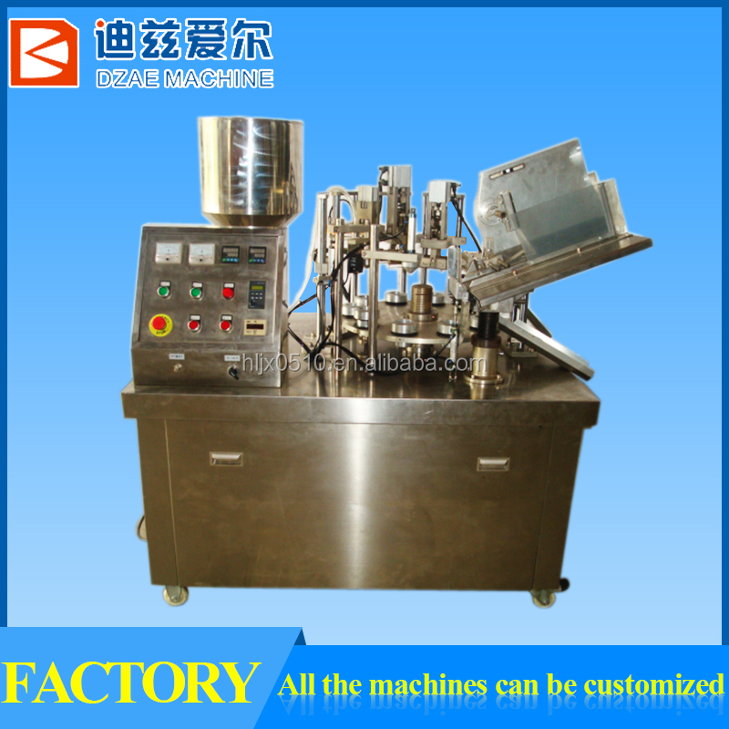 toothpaste tube filling and sealing machine, stainless steel cosmetic plastic tube filling machine, soft tube filler and sealer