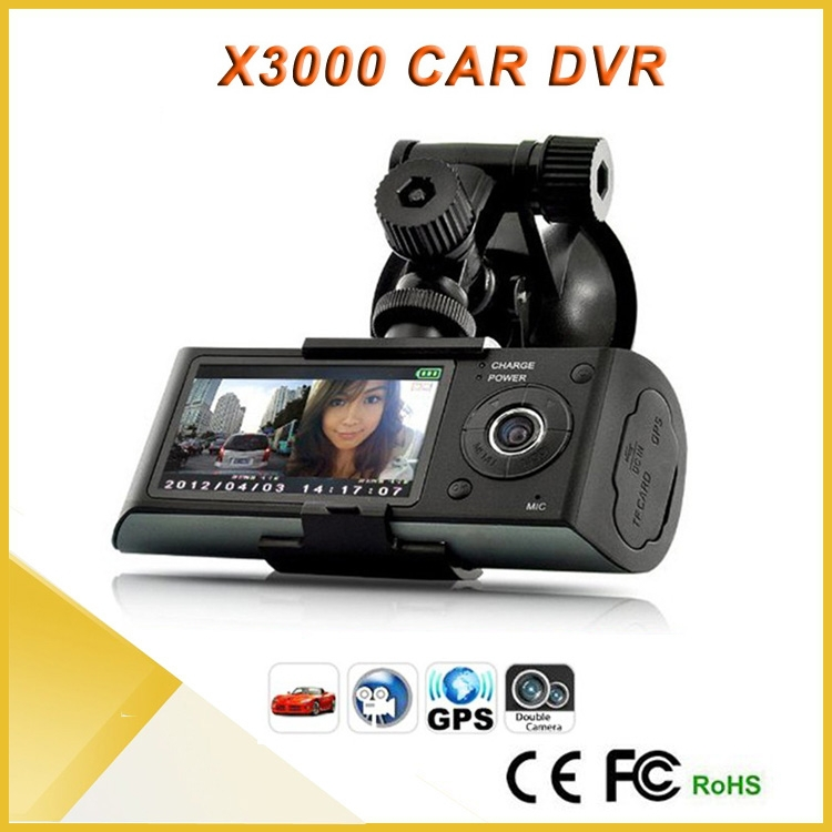 GPS HD 720P Built-in Dual Lens Dual Camera Dash Cam r300 Car dvr