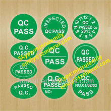 Custom qc pass quality control sticker,stickly round & oval qc labels,qc pass sticker