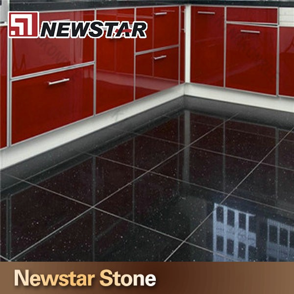 Black engineered stone black quartz tile flooring quartz price