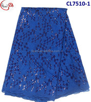 CL7510 2016 new international trend latest fashion design african fabric royal blue organza sequinse lace