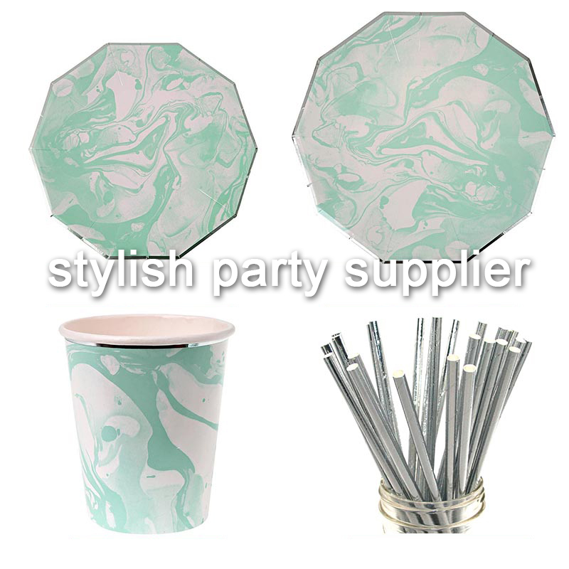 Factory Custom Marble Pattern Disposable Tableware Papaer Plates Paper Cups