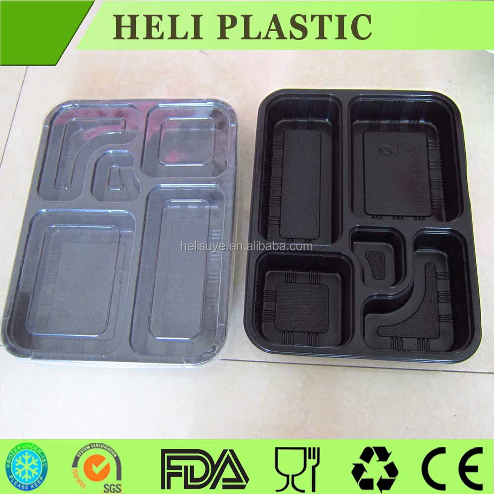 5 Compartments disposable micfowave safe food container/bento box