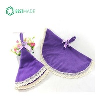 microfiber lace round shape hanging towels