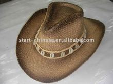 Natural Riffia straw cowgirl hat with band