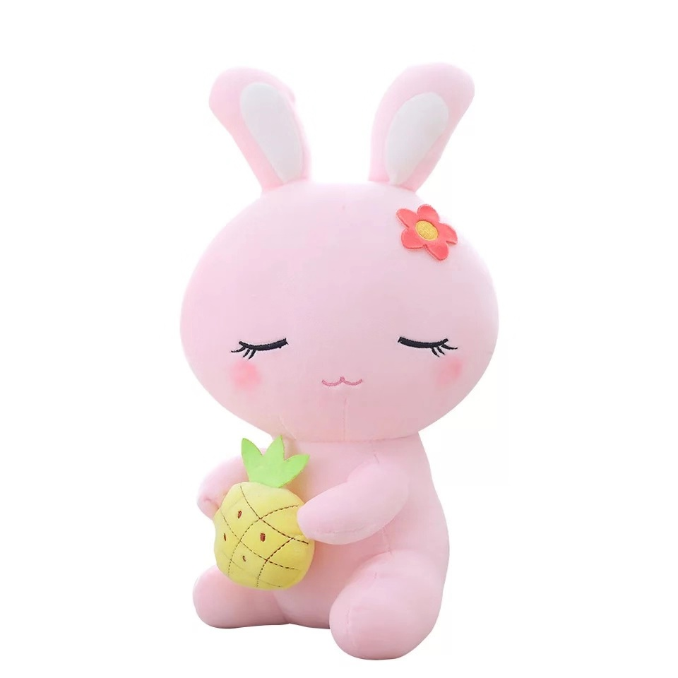 Factory Custom Super Soft Kawaii Holding Fruit Plush Toy <strong>Rabbit</strong>