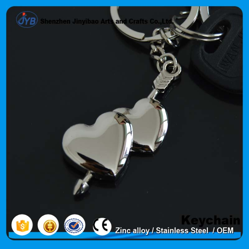 metal fancy quality silver couple lover double hearts arrow keychain