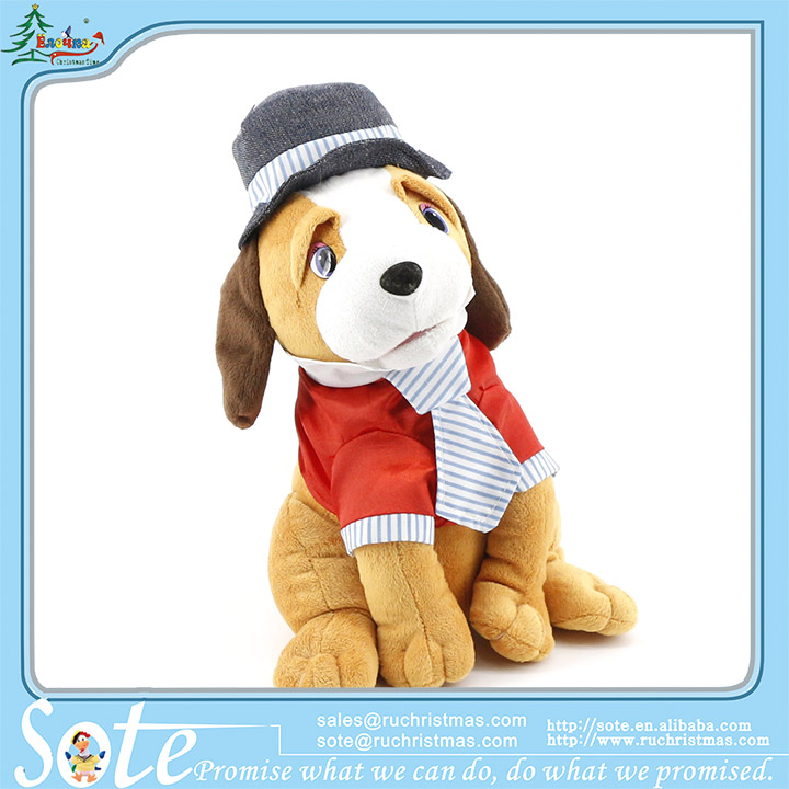 High quality movement electronic toys AA batteries musical plush dog with wears OEM cuddle pets professional factory